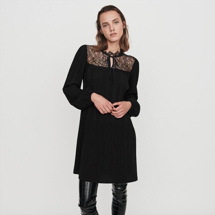마쥬 레이스 주름 원피스 MAJE 119ROCKETTE Pleated lace dress,Black
