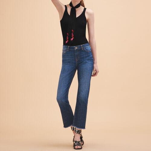 Stretch cotton straight jeans - Pants & Jeans - MAJE