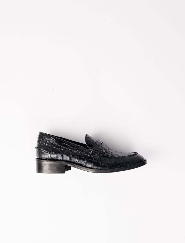 마쥬 로퍼 MAJE 220FREDCROC Crocodile-effect calfskin loafers,Black