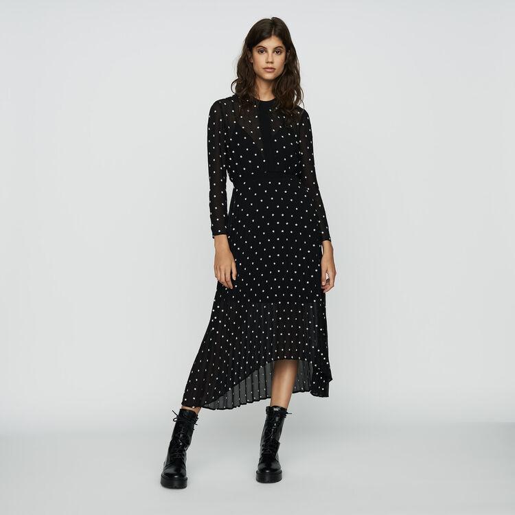 마쥬 RIVOLI 데이지 롱 플리츠 원피스 - 블랙 MAJE RIVOLI Long pleated dress with embroidery,Black