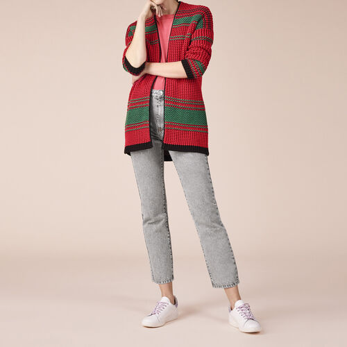 Two-tone moss stitch knit cardigan - Sweaters - MAJE