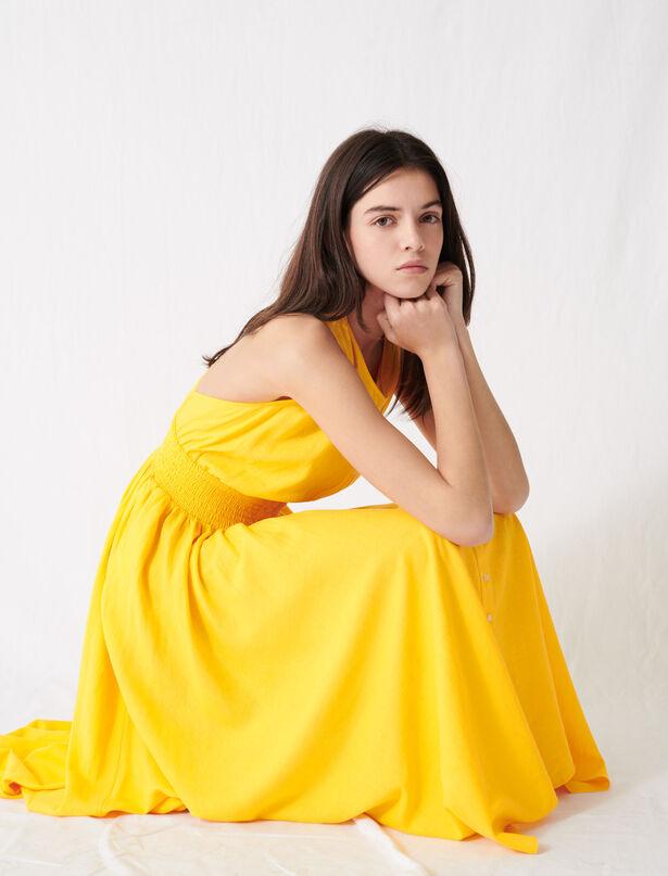 마쥬 린넨 민소매 롱 원피스 - 써니 옐로우 MAJE 220RELLOW Sunny yellow smocked linen dress