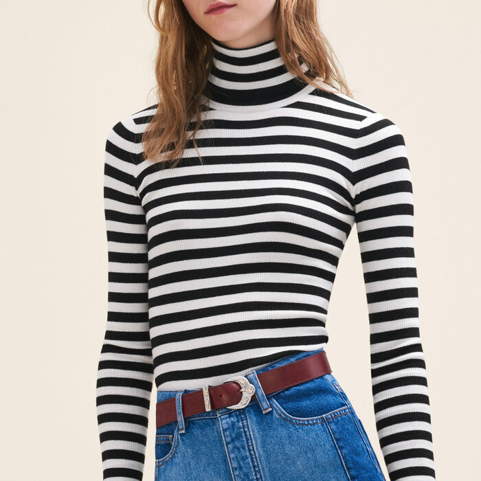 Striped roll-neck jumper -  - MAJE
