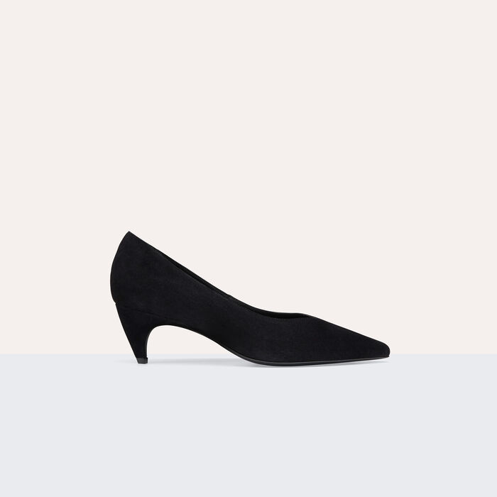Suede leather court shoes with cut-out -  - MAJE
