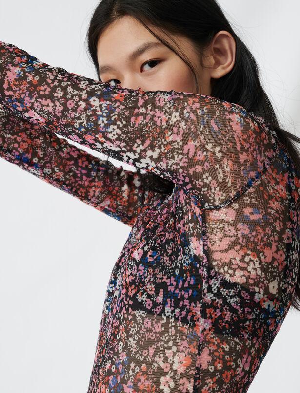 마쥬 플로럴 탑 MAJE 220THOMAS Mesh top with floral motif,Multi-Coloured
