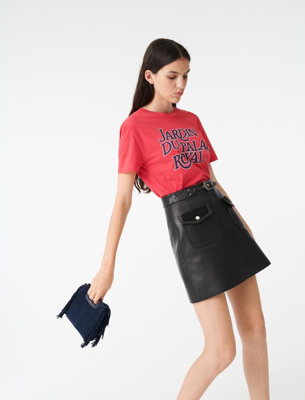 마쥬 티셔츠 MAJE 220TERENCE Silkscreen printed T-shirt,Pink