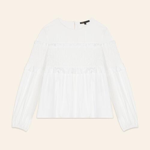 Top de algodón con fruncidos - Tops & T-Shirts - MAJE