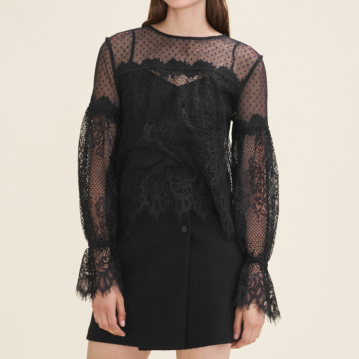 Lace and dotted Swiss top - Tops & T-Shirts - MAJE