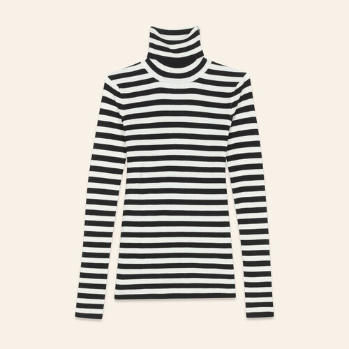 Striped roll-neck jumper - Sweaters - MAJE