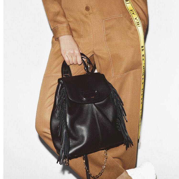 마쥬 MBACKLEA M 백팩 블랙 MAJE MBACKLEA M backpack in leather with chain,Black 210