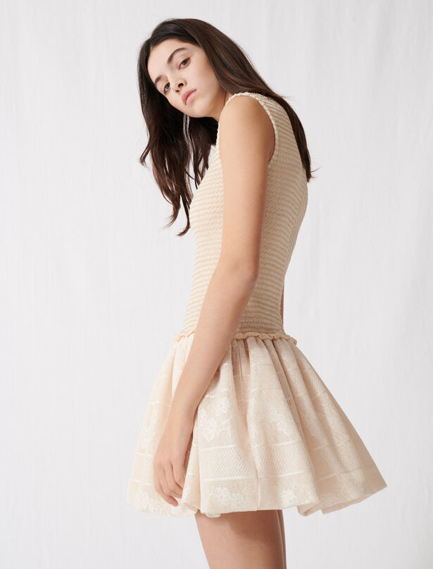 마쥬 민소매 플레어 니트 원피스 MAJE 220ROLLAND Smocked knit skater dress,Light Beige