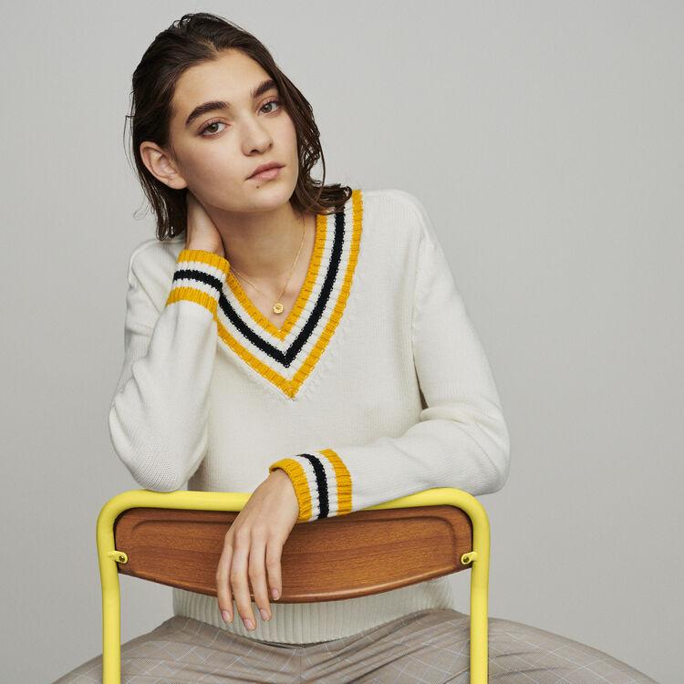 마쥬 METEO 브이넥 스웨터 에크루 MAJE Sweater with contrasted bands,Ecru