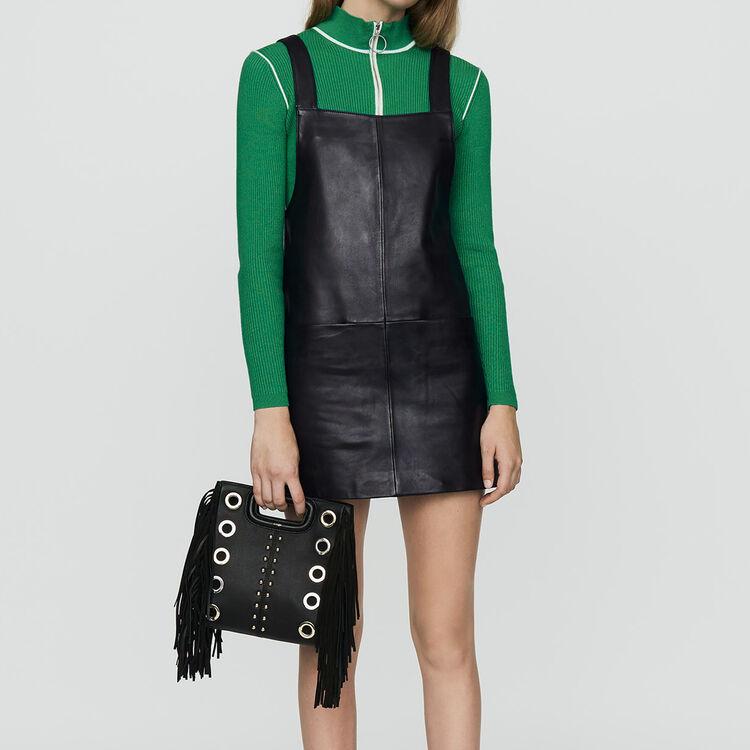마쥬RICHANCE 가죽 튜닉 원피스 (유인나 착용) MAJE RICHANCE Leather tunic dress, Black 210