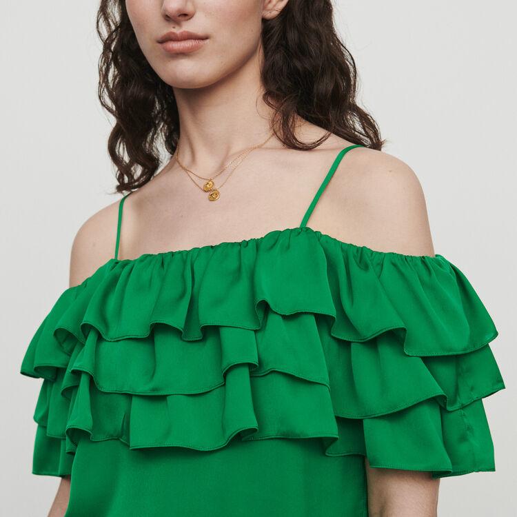 마쥬 LOVANT 러플 블라우스 MAJE LOVANT Strappy top with ruffles,Green
