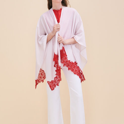Poncho with lace - Shoes & Accessories - MAJE