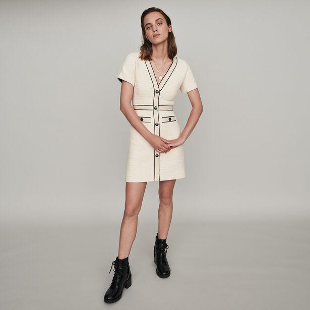 마쥬 원피스 MAJE 119ROPPY TWEED-STYLE CONTRAST DRESS,Ecru