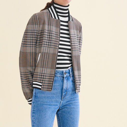 Teddy-style checked jacket - Coats & Jackets - MAJE