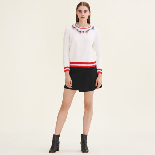 Jumper with decorative jewellery - Sweaters - MAJE