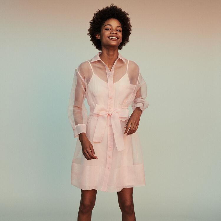 마쥬 REVANI 오간자 셔츠 원피스 페일 핑크 MAJE REVANI Organza shirt dress,Pale Pink