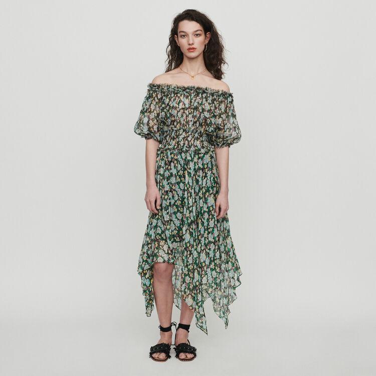 마쥬 RULLI 플로럴 프린트 오프 숄더 롱 원피스 MAJE RULLI Long smocked dress in floral print,PRINTED