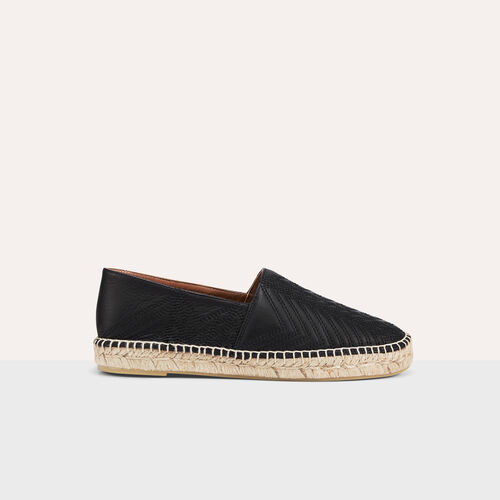 Leather espadrilles with embroidery - Shoes - MAJE