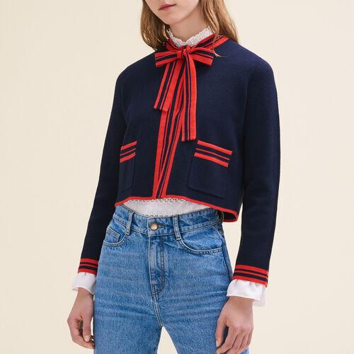 Short two-tone cardigan - Sweaters - MAJE