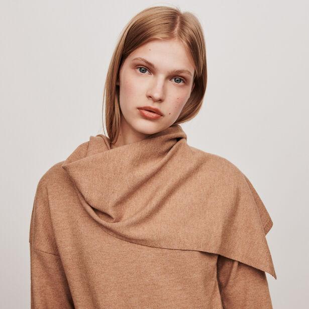 마쥬 스카프 칼라 스웨터 - 카멜 MAJE 119MADJI KNOTTED CREWNECK SWEATER,Camel