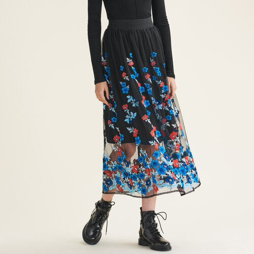 Falda larga con bordados florales - Skirts & Shorts - MAJE