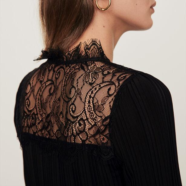 마쥬 브이넥 레이스 탑 MAJE 119LOCKETTE Pleated top with lace trim,Black