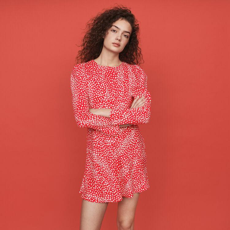 마쥬 원피스 MAJE 119ROMIE Jacquard-printed gathered dress,Red
