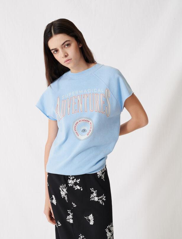 마쥬 레터링 탑, 반팔 맨투맨 ('그놈이 그놈이다' 황정음 착용) MAJE 220TOLLEGE Sky blue screen-printed sweatshirt,Light Blue