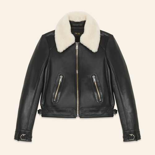Sheepskin collar aviator jacket - Coats & Jackets - MAJE