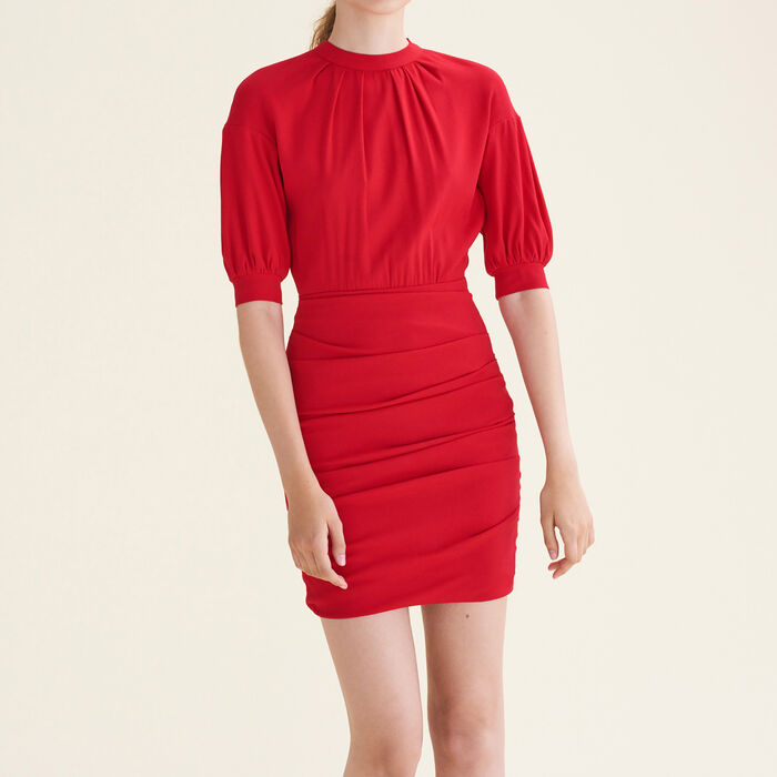 Draped dual-material dress -  - MAJE