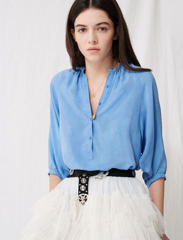 마쥬 차이나카라 블라우스 MAJE 220LUA Buttoned blouse with shirring,Light Blue