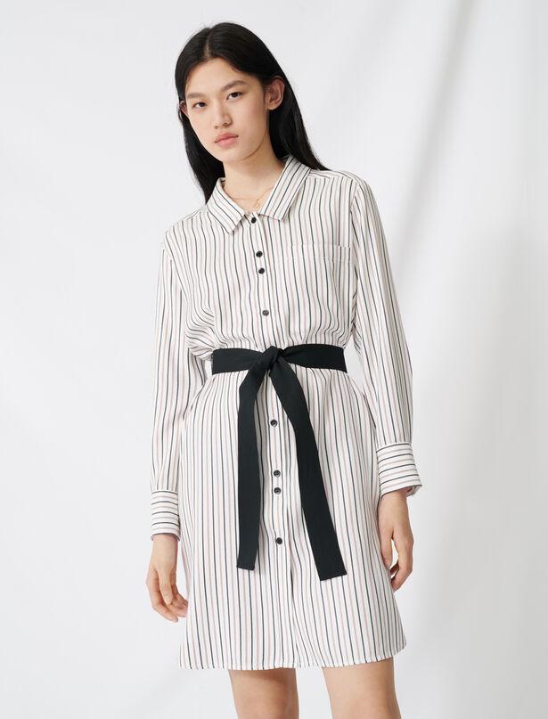 마쥬 핀스트라이프 벨티드 셔츠 원피스 MAJE 220RAYONA Belted pinstriped shirt dress,Ecru / Black