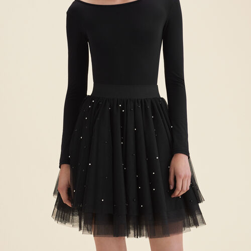 Short tulle skirt with beads - Skirts & Shorts - MAJE