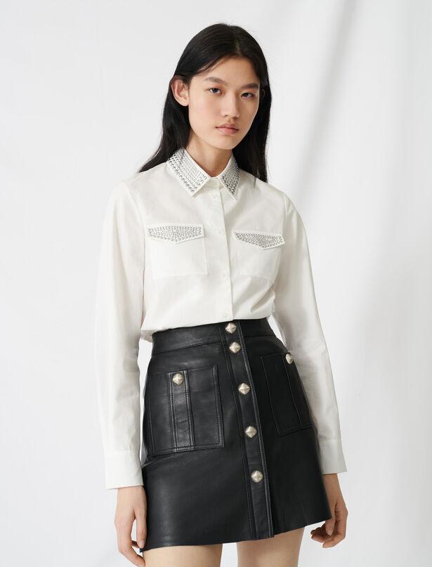 마쥬 셔츠 MAJE 220CILINA Studded poplin shirt,Ecru
