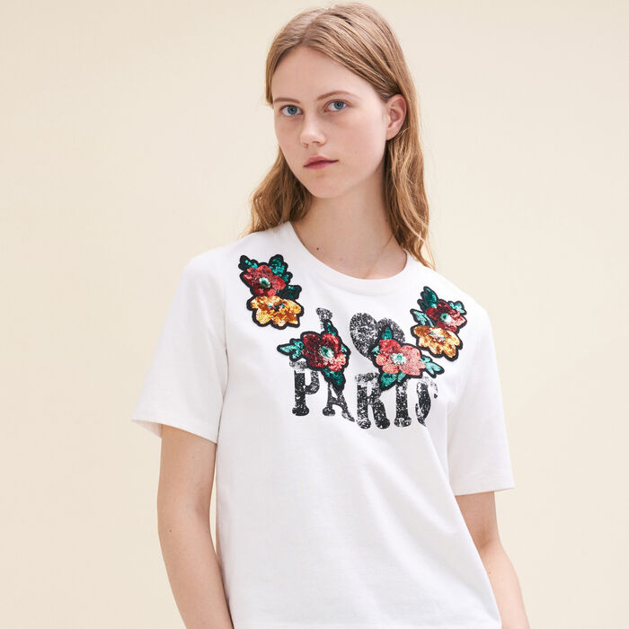 Basic printed T-shirt with sequins - Tops & T-Shirts - MAJE