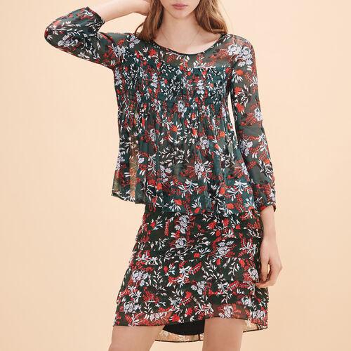 Short asymmetrical printed skirt - Skirts & Shorts - MAJE