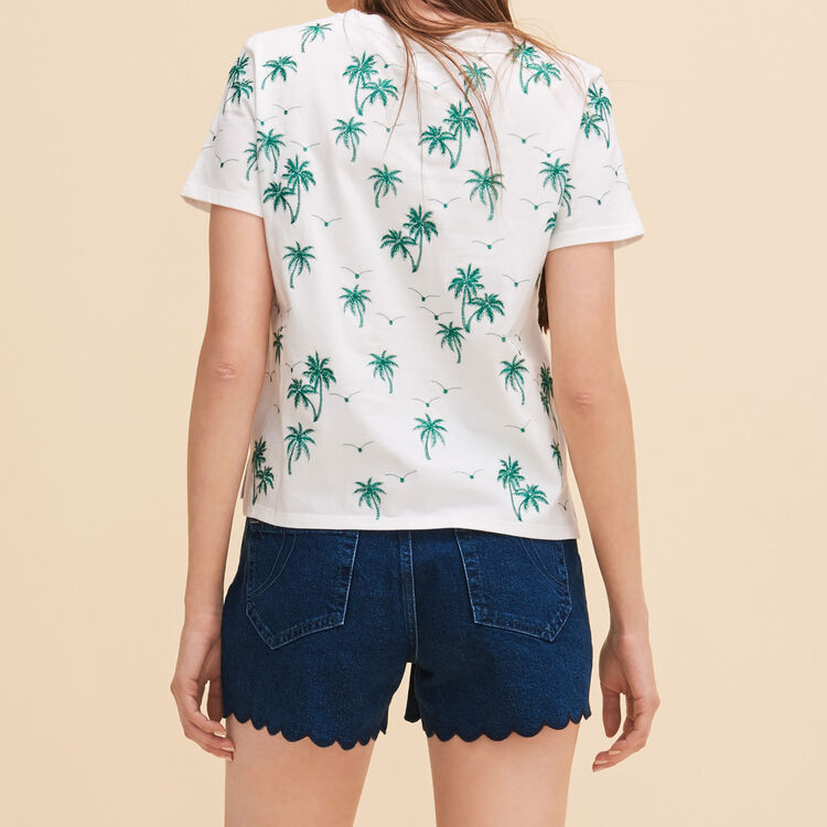 T-shirt with embroidered palm trees - Tops & Shirts - MAJE
