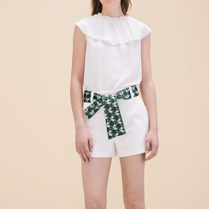 Shorts with jacquard belt -  - MAJE