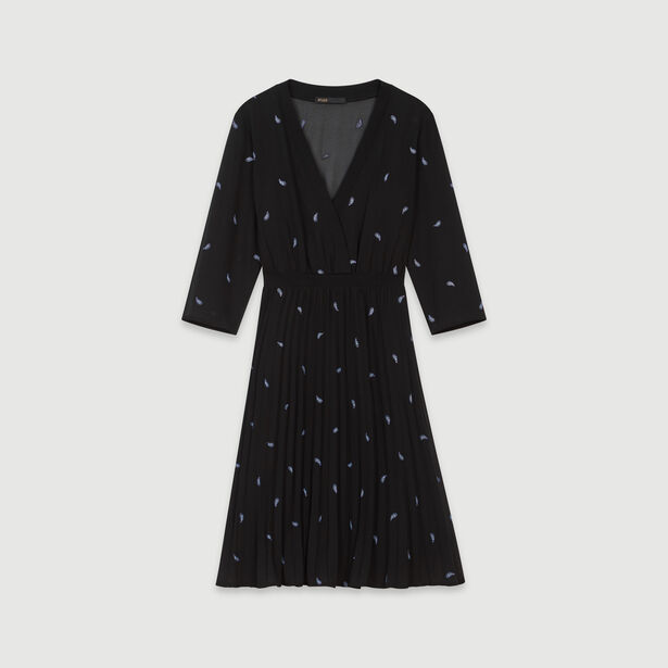 마쥬 원피스 MAJE 119RIVIERE PLEATED DRESS WITH EMBROIDERED CASHMERE,Black