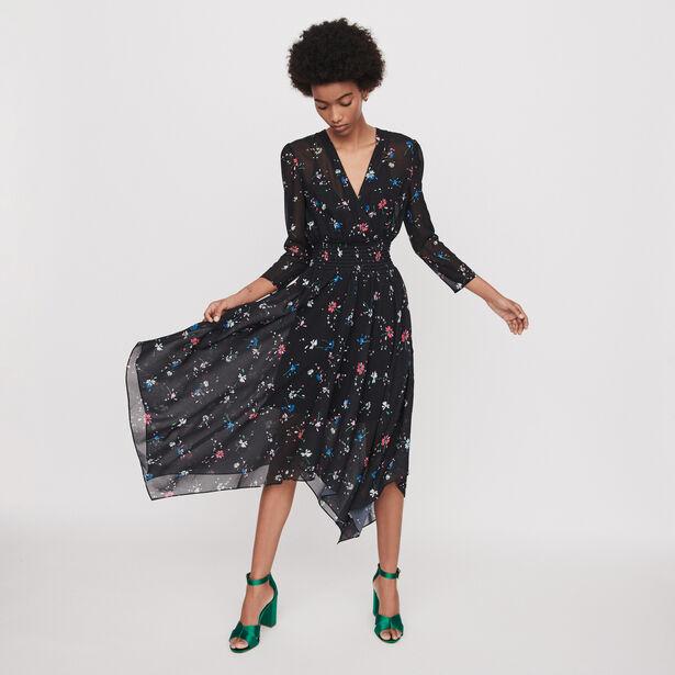 마쥬 원피스 MAJE 119RAYEMA PRINTED-MUSLIN SCARF DRESS,Black