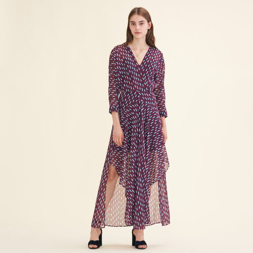 Long dress with graphic print - Majexclusive - MAJE