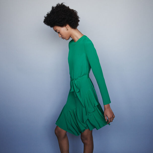 마쥬 원피스 MAJE 119ROMEA Asymmetrical crepe dress,Green