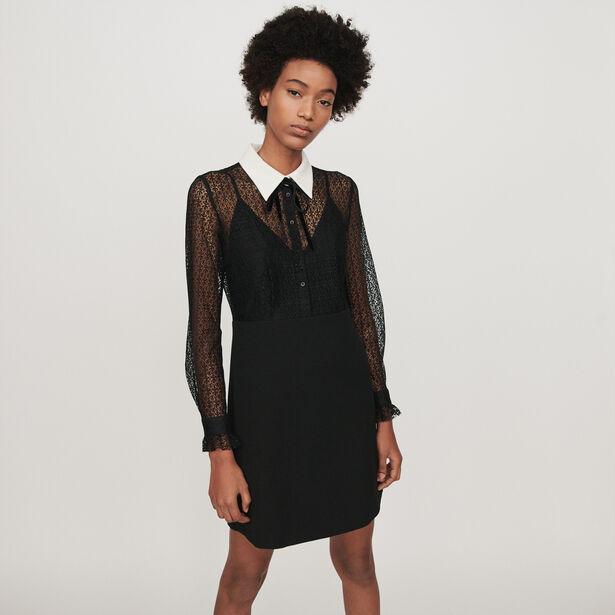 마쥬 원피스 MAJE 119RAMONI Contrast-collar guipure and crepe dress,Black