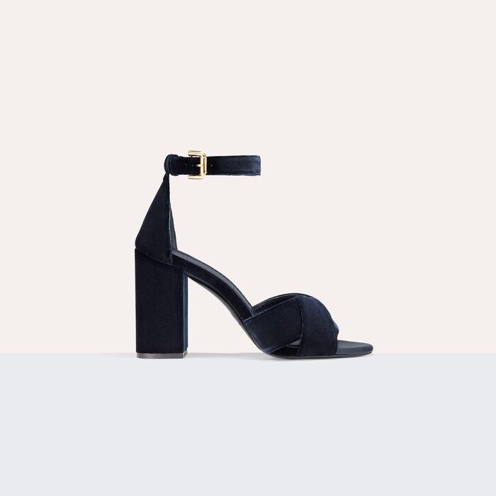 Heeled suede calfskin sandals -  - MAJE