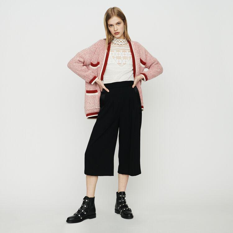 마쥬 기모노 카라 투톤 가디건 - 레드 MAJE MAGDA Mid-length cardigan in bicolor wool,Red