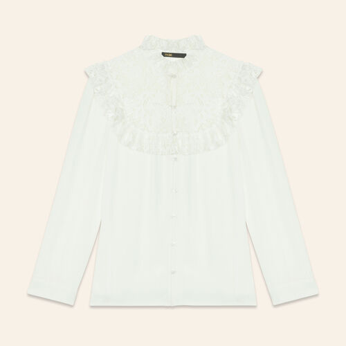 Blouse with lace insets on the chest - Tops & T-Shirts - MAJE