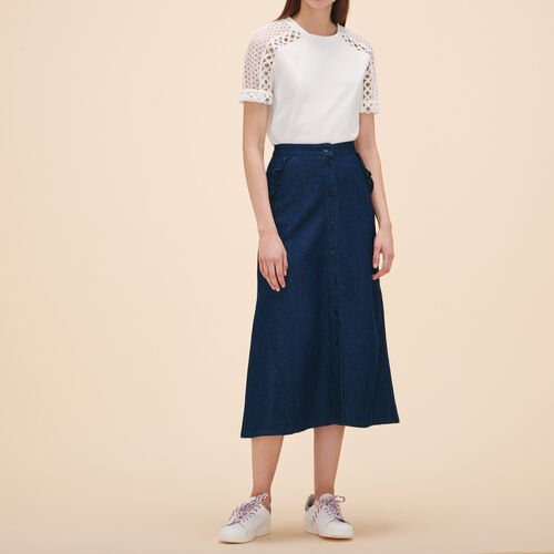 Embroidered T-shirt with eyelets - Tops & Shirts - MAJE